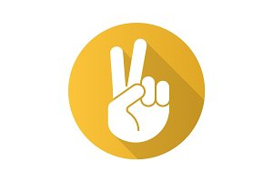 Peace hand gesture. Flat design long shadow icon