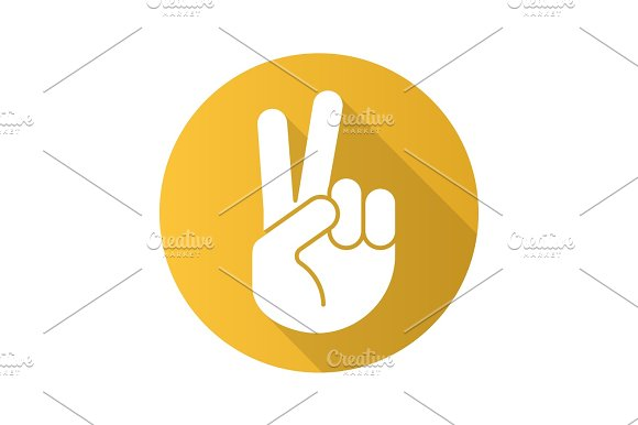 Peace Hand Gesture Flat Design Long Shadow Icon