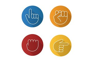 Hand gestures flat linear long shadow icons set
