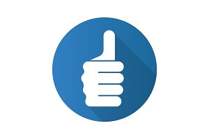 Thumbs up hand gesture. Flat design long shadow icon