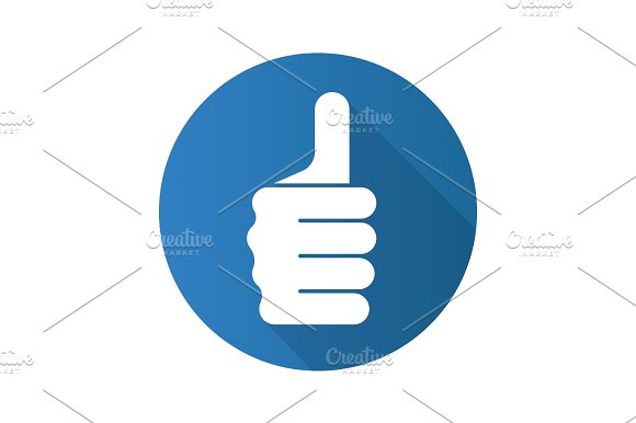 Thumbs Up Hand Gesture Flat Design Long Shadow Icon
