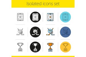 Hockey icons set