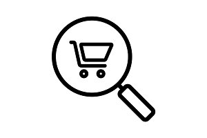 Supermarket search linear icon