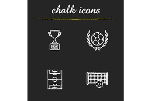 Soccer championship chalk icons set