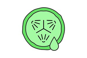 Cucumber slice with juice drop color icon