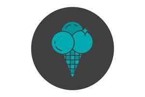 Ice cream glyph color icon
