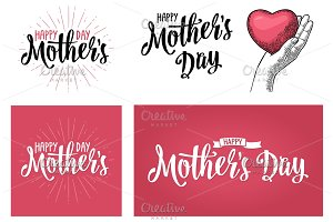 Happy Mother's Day lettering. Vector vintage illustration. Isolated pink background