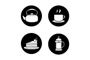 Tea and coffee icons set