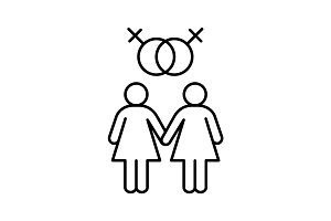 Lesbian couple linear icon