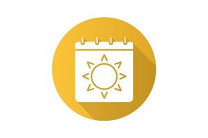 Summer season flat design long shadow icon