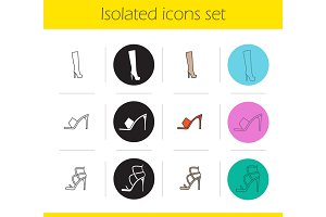 Women's footwear icons set