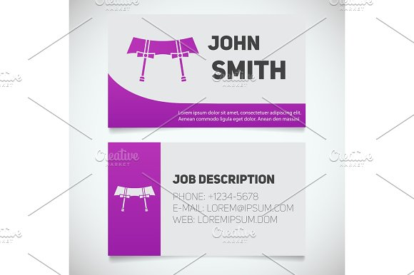 Business card print template with garters logo