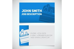 Business card print template with office worker logo