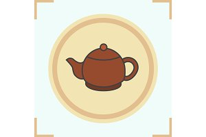 Teapot color icon