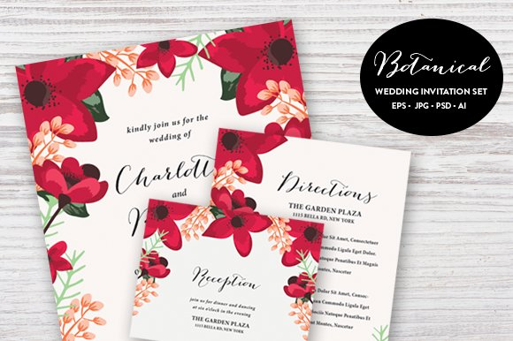 Botanical wedding set esp psd invitation templates creative botanical wedding set esp psd invitation templates creative market stopboris Images