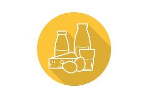 Dairy products flat linear long shadow icon