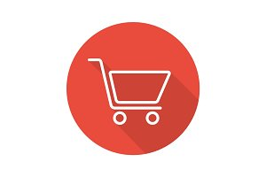 Shopping cart flat linear long shadow icon