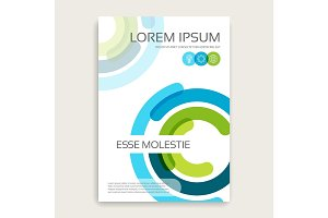 Annual report brochure design cover with multicolored semirings