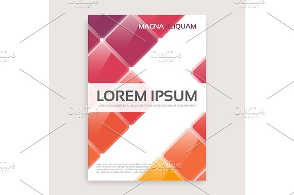Annual Report Brochure Design With Shiny Squares