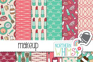 Hand Drawn Girly Makeup Patterns