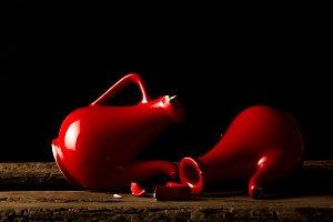 Still life of beautiful red ceramic