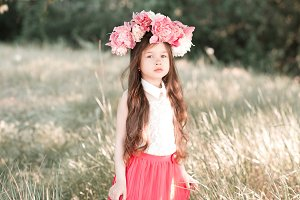 Stylish girl with flowers