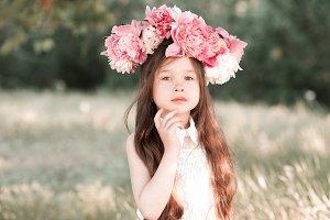 Stylish kid with flowers