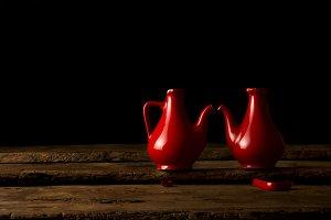 Still life of beautiful broken jars