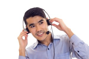 Young man using headphones