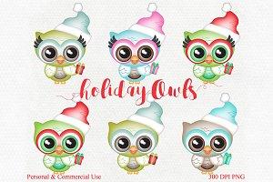 Cute Holiday Christmas Owl Graphics