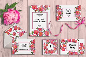 Wedding Invitation suite -in pink
