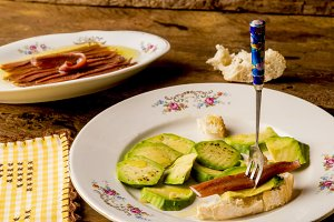 Anchovies fillets and avocado