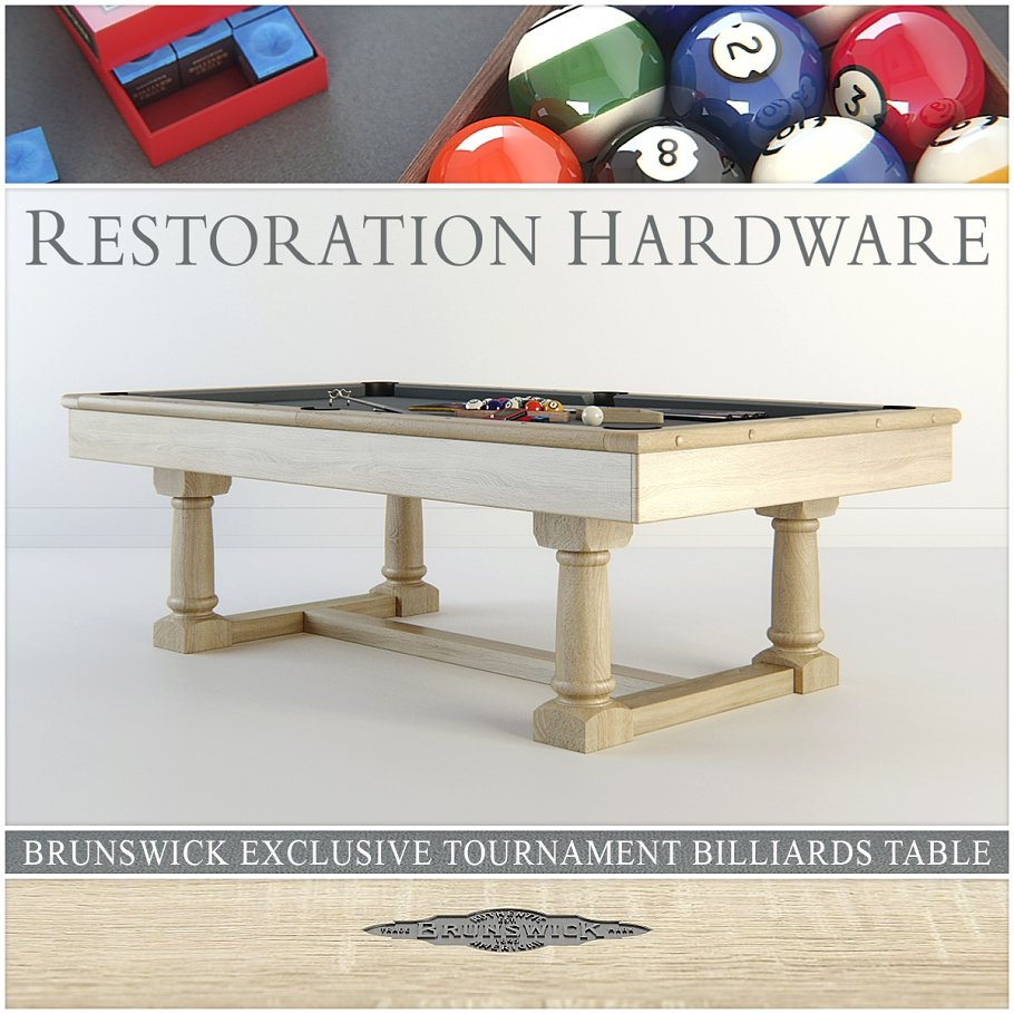 RH Brunswick Billiards Table D Furniture Models Creative Market - Restoration hardware pool table