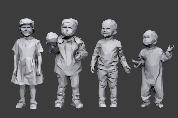 3D Models: kanistra studio - Lowpoly Children Pack
