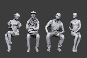 Lowpoly People Sitting Pack