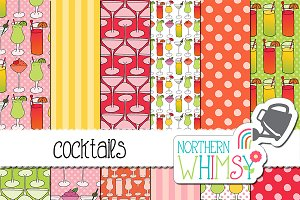 Cocktails Seamless Patterns
