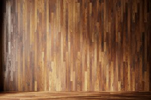 illustration render natural interior with wood wall panels