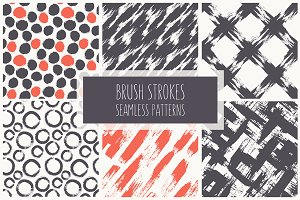 Brush Strokes. Seamless Patterns ▪ 1