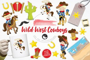 Wild West Cowboys illustration pack