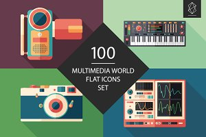 100 Multimedia world flat icons set