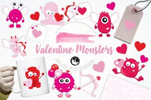 Valentine Monsters illustration pack