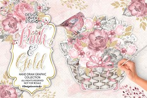 Watercolor Pink and Gold design
