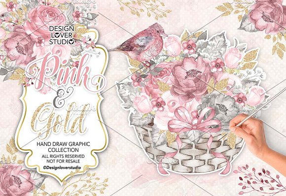 Watercolor pink and gold design illustrations creative market mightylinksfo