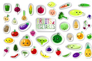 Summer Fruits and Vegetables Clipart