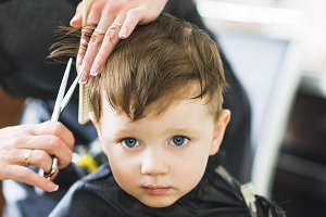 Hairdresser shears scissors boy