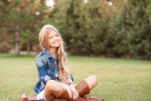 Smiling teen girl outdoors