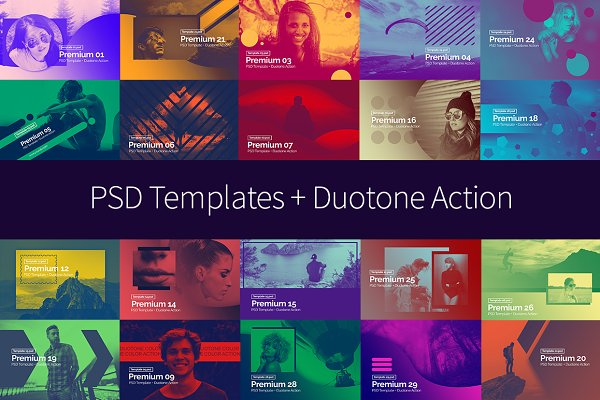 PSD Template + Duotone Action