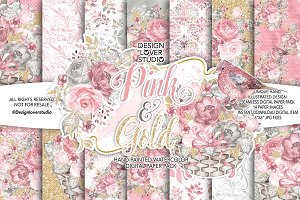 Watercolor Pink and Gold DP pack