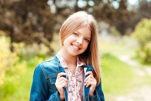 Stylish teen girl outdoors