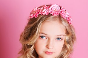 Beautiful girl over pink
